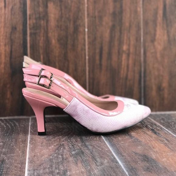 45e0dd2c93c Blush Pink Snake Print Slingback Kitten Heel Pump